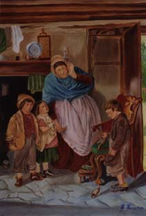 Mother & children in old kitchen